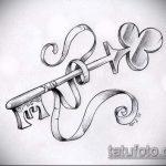 Эскиз для татуировки ключ и замок №151 - прикольный вариант рисунка, который легко можно использовать для переделки и нанесения как тату замок и ключ