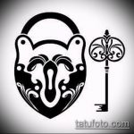 Эскиз для татуировки ключ и замок №454 - эксклюзивный вариант рисунка, который успешно можно использовать для доработки и нанесения как тату замок и ключ