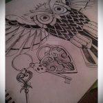 Эскиз для татуировки ключ и замок №115 - достойный вариант рисунка, который удачно можно использовать для переделки и нанесения как тату замок и ключ