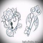 Эскиз для татуировки ключ и замок №325 - достойный вариант рисунка, который хорошо можно использовать для переработки и нанесения как тату ключ и замок для пары