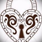Эскиз для татуировки ключ и замок №129 - достойный вариант рисунка, который легко можно использовать для переделки и нанесения как тату ключ и замок для пары
