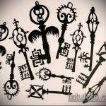 Эскиз для татуировки ключ и замок №641 - уникальный вариант рисунка, который легко можно использовать для переработки и нанесения как тату ключ и замок для пары