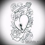 Эскиз для татуировки ключ и замок №897 - эксклюзивный вариант рисунка, который легко можно использовать для переделки и нанесения как тату замок и ключ