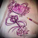 Эскиз для татуировки ключ и замок №480 - достойный вариант рисунка, который легко можно использовать для переделки и нанесения как тату замок и ключ