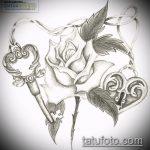 Эскиз для татуировки ключ и замок №47 - классный вариант рисунка, который удачно можно использовать для преобразования и нанесения как тату замок и ключ