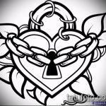 Эскиз для татуировки ключ и замок №429 - интересный вариант рисунка, который легко можно использовать для переработки и нанесения как тату замок и ключ