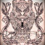Эскиз для татуировки ключ и замок №399 - прикольный вариант рисунка, который удачно можно использовать для переработки и нанесения как тату ключ и замок для пары