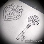 Эскиз для татуировки ключ и замок №218 - достойный вариант рисунка, который легко можно использовать для переработки и нанесения как тату замок и ключ парные