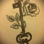 Эскиз для татуировки ключ и замок №522 - прикольный вариант рисунка, который хорошо можно использовать для переработки и нанесения как тату замок и ключ