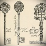 Эскиз для татуировки ключ и замок №864 - прикольный вариант рисунка, который удачно можно использовать для переделки и нанесения как тату ключ и замок для пары