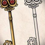 Эскиз для татуировки ключ и замок №268 - достойный вариант рисунка, который хорошо можно использовать для переработки и нанесения как тату замок и ключ