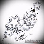 Эскиз тату звезды на ключице №997 - классный вариант рисунка, который удачно можно использовать для доработки и нанесения как тату звезды на ключицах у девушек