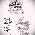 Эскиз тату звезды на ключице №230 - классный вариант рисунка, который легко можно использовать для преобразования и нанесения как тату звезды на ключицах и коленях