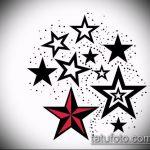 Эскиз тату звезды на ключице №800 - крутой вариант рисунка, который удачно можно использовать для преобразования и нанесения как тату звезды на ключицах и коленях