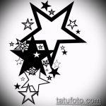 Эскиз тату звезды на ключице №287 - интересный вариант рисунка, который хорошо можно использовать для переделки и нанесения как тату звезды на ключицах и коленях