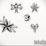 Эскиз тату звезды на ключице №722 - классный вариант рисунка, который хорошо можно использовать для переделки и нанесения как тату звезды на ключицах и коленях