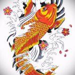 Эскиз тату золотая рыбка №996 - классный вариант рисунка, который легко можно использовать для переработки и нанесения как тату золотая рыбка в короне