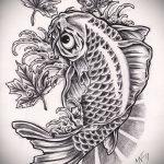 Эскиз тату золотая рыбка №26 - крутой вариант рисунка, который легко можно использовать для преобразования и нанесения как тату золотая рыбка на запястье