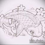 Эскиз тату золотая рыбка №511 - эксклюзивный вариант рисунка, который успешно можно использовать для переработки и нанесения как тату рыбки кои