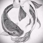 Эскиз тату золотая рыбка №748 - прикольный вариант рисунка, который удачно можно использовать для переработки и нанесения как тату золотая рыбка на руке
