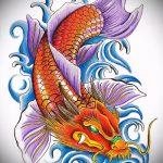 Эскиз тату золотая рыбка №919 - уникальный вариант рисунка, который хорошо можно использовать для преобразования и нанесения как тату рыбки знак зодиака