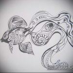 Эскиз тату золотая рыбка №642 - прикольный вариант рисунка, который успешно можно использовать для переработки и нанесения как тату рыбки для девушек