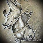 Эскиз тату золотая рыбка №621 - интересный вариант рисунка, который хорошо можно использовать для преобразования и нанесения как тату золотая рыбка маленькая