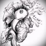 Эскиз тату золотая рыбка №318 - крутой вариант рисунка, который успешно можно использовать для переделки и нанесения как тату золотая рыбка на руке