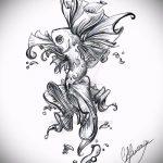 Эскиз тату золотая рыбка №806 - классный вариант рисунка, который успешно можно использовать для переделки и нанесения как тату золотая рыбка акварель