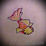 Эскиз тату золотая рыбка №404 - интересный вариант рисунка, который успешно можно использовать для переделки и нанесения как тату золотая рыбка акварель