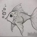 Эскиз тату золотая рыбка №253 - эксклюзивный вариант рисунка, который удачно можно использовать для доработки и нанесения как тату рыбки для девушек