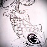 Эскиз тату золотая рыбка №922 - эксклюзивный вариант рисунка, который удачно можно использовать для переделки и нанесения как тату золотая рыбка на руке