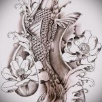 Эскиз тату золотая рыбка №109 - прикольный вариант рисунка, который удачно можно использовать для переделки и нанесения как тату рыбки знак зодиака