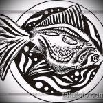 Эскиз тату золотая рыбка №266 - прикольный вариант рисунка, который хорошо можно использовать для доработки и нанесения как тату золотая рыбка на шее