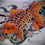Эскиз тату золотая рыбка №703 - прикольный вариант рисунка, который успешно можно использовать для переделки и нанесения как тату золотая рыбка и лотос