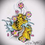 Эскиз тату золотая рыбка №223 - прикольный вариант рисунка, который легко можно использовать для преобразования и нанесения как тату золотая рыбка на запястье