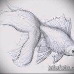 Эскиз тату золотая рыбка №239 - интересный вариант рисунка, который удачно можно использовать для доработки и нанесения как тату золотая рыбка на руке