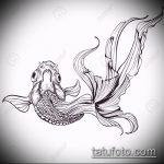 Эскиз тату золотая рыбка №696 - эксклюзивный вариант рисунка, который успешно можно использовать для преобразования и нанесения как тату золотая рыбка на запястье
