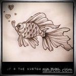 Эскиз тату золотая рыбка №413 - крутой вариант рисунка, который хорошо можно использовать для преобразования и нанесения как тату золотая рыбка акварель