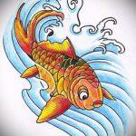 Эскиз тату золотая рыбка №285 - уникальный вариант рисунка, который хорошо можно использовать для преобразования и нанесения как тату золотая рыбка на шее