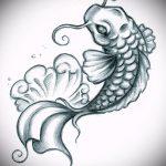 Эскиз тату золотая рыбка №409 - крутой вариант рисунка, который удачно можно использовать для преобразования и нанесения как тату рыбки для девушек