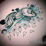Эскиз тату золотая рыбка №831 - крутой вариант рисунка, который легко можно использовать для преобразования и нанесения как тату рыбки в космосе