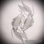 Эскиз тату золотая рыбка №732 - крутой вариант рисунка, который успешно можно использовать для доработки и нанесения как тату золотая рыбка и лотос