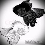 Эскиз тату золотая рыбка №287 - интересный вариант рисунка, который хорошо можно использовать для доработки и нанесения как тату золотая рыбка и лотос