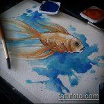 Эскиз тату золотая рыбка №920 - классный вариант рисунка, который успешно можно использовать для доработки и нанесения как тату рыбки кои