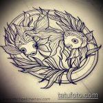 Эскиз тату золотая рыбка №860 - классный вариант рисунка, который легко можно использовать для преобразования и нанесения как тату рыбки для девушек