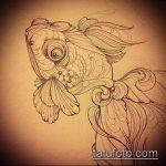 Эскиз тату золотая рыбка №323 - уникальный вариант рисунка, который успешно можно использовать для переделки и нанесения как тату золотая рыбка и лотос