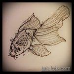 Эскиз тату золотая рыбка №957 - достойный вариант рисунка, который успешно можно использовать для переделки и нанесения как тату рыбки в космосе