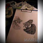 Эскиз тату золотая рыбка №724 - эксклюзивный вариант рисунка, который хорошо можно использовать для преобразования и нанесения как тату золотая рыбка в короне