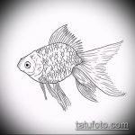 Эскиз тату золотая рыбка №812 - классный вариант рисунка, который успешно можно использовать для доработки и нанесения как тату рыбки знак зодиака